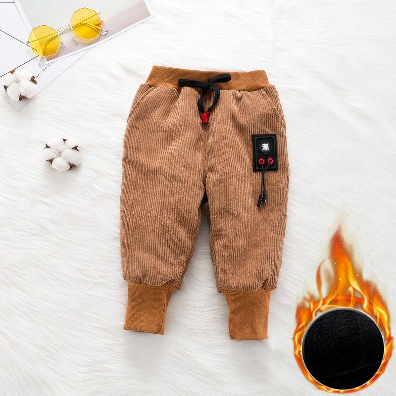 小童裤 男宝潮字棉裤灯芯绒加厚靴裤0-3婴儿大PP裤保暖裤冬装胖宝