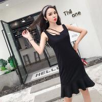 连衣裙女夏2018韩版小清新个性别致修身显瘦气质中长款吊带裙 黑色