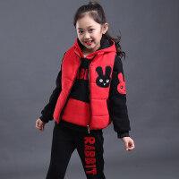 童装女童冬装2018新款儿童加绒加厚冬季时髦中大童三件套装洋气潮