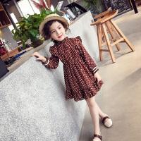 女童春装连衣裙 新款儿童韩版雪纺长袖裙圆点荷叶边洋气裙子
