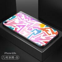 citycase 苹果8手机壳7plus个性蓝光玻璃涂鸦男女款iphone6s潮牌6
