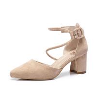 骆驼女鞋 2018春季新款 通勤尖头高跟鞋时尚简约绒面粗跟女单鞋