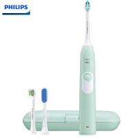 飞利浦(PHILIPS)电动牙刷HX6213/60 成人充电式 声波震动牙刷软毛 配旅行盒 舌苔刷 灵动绿 3支刷头