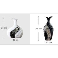 创意黑白镀银花瓶陶瓷工艺品摆件简约现代家居客厅花插花器装饰品摆设结婚礼物