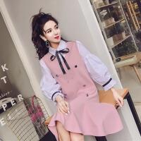 春季18新款韩版蕾丝系带灯笼袖口撞色衬衫+时尚荷叶边无袖背心裙