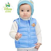 迪士尼Disney童装羽绒儿童马甲新款秋冬男女宝宝外出前开扣保暖外套174S985