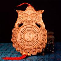 木雕挂件葫芦挂卫生间门对门家居饰品摆件桃木兽头八卦镜