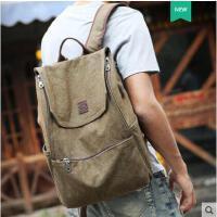 复古军绿双肩包男士帆布背包时尚韩版学生书包运动旅行包电脑包