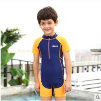 高领泳装运动男童连体儿童游泳衣防晒速干多色拼接游泳帅气大码泳衣