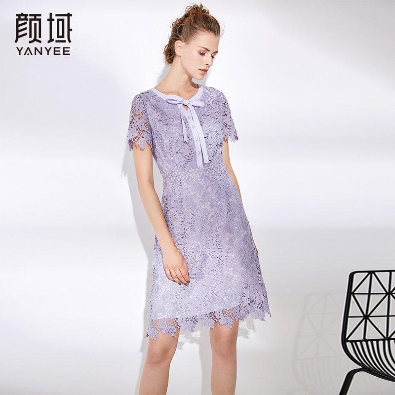 颜域女士裙子夏女2018新款气质时尚短袖修身显瘦水溶花蕾丝连衣裙