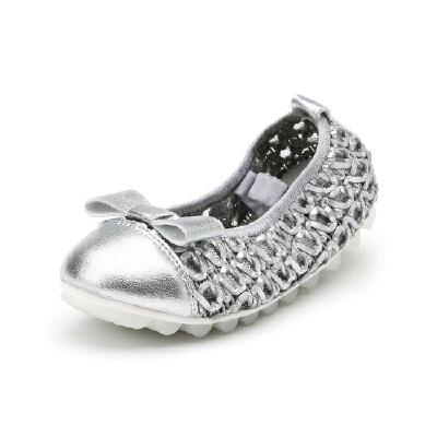 比比我童鞋2017新款韩版平底鞋浅口蝴蝶结单鞋卷卷鞋女童【每满100减50】
