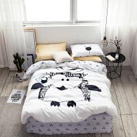 家纺简约全棉床单四件套1.8m床被套ins风床上用品棉床笠