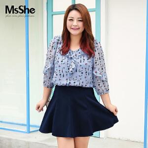 MsShe大码女装2017夏装微胖妹妹胖MM藏肉显瘦雪纺衫M1760810