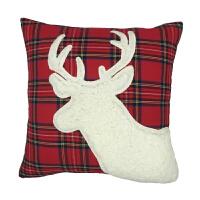 北欧圣诞鹿头新年刺绣抱枕套红色靠包节日装饰办公室沙发靠枕靠垫