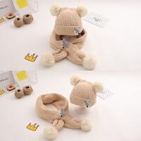秋冬季宝宝帽子毛线帽男童女童冬天保暖1一2岁儿童围巾二件套婴儿 参考6个月-4岁弹性帽围(均码)