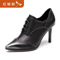 【红蜻蜓领�涣⒓�150】金粉世家 红蜻蜓旗下 秋季新品单鞋女牛皮舒适高跟鞋复古