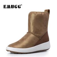 emugg雪地靴女羊皮毛一体澳洲女靴冬季加绒中筒靴坡跟运动靴皮面