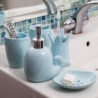 刷牙杯套装陶瓷创意欧式洗漱套装陶瓷卫浴五件套漱口杯刷牙杯用品套件结