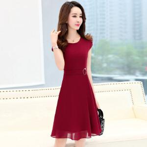 30-40岁女人雪纺连衣裙2018夏天新款气质显瘦短袖年轻妈妈装裙子