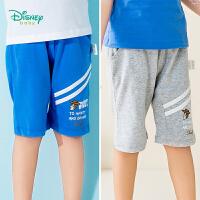 迪士尼Disney童装 宝宝条纹短裤男巴斯光年印花五分裤男童时尚哈伦短裤192K813
