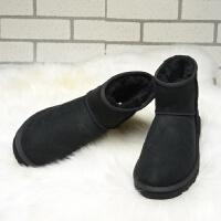 冬季羊皮毛一体雪地靴女中筒学生加绒保暖短靴子短筒2018新款棉鞋SN3314