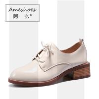 粗跟单鞋2019新款英伦女鞋漆皮黑色复古ins加绒小皮鞋女日系SN6049