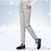 新款欧版加绒加厚女士休闲裤收口针织运动裤小脚宽松长裤