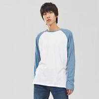 【5.16-5.17日抢购价:85】美特斯邦威男拼色长袖T恤