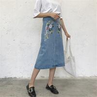 牛仔半身裙女中长款2018夏装女装过膝韩版高腰修身包臀裙A字裙潮