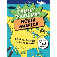 英文原版 孤独星球 我的家庭旅行大地图:北美洲 含大量旅途信息和贴纸 My Family Travel Map - N