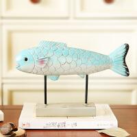 北欧家居客厅装饰品摆件鱼窗台创意电视柜摆设玄关软装可爱工艺品 蓝色