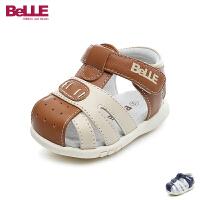 百丽Belle童鞋18新款儿童凉鞋牛皮婴幼童时尚撞色男童学步鞋包头防踢宝宝鞋(0-4岁可选) DE5941