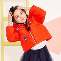 美特斯邦威旗下 moomoo童装女童连帽时尚棉服中大童儿童秋冬装新款短款棉外套