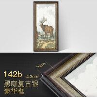竖版美式客厅装饰画背景墙画玄关挂画餐厅走廊壁画麋鹿油画 70*140cm 45mm厚框 艺术微喷(单幅价格