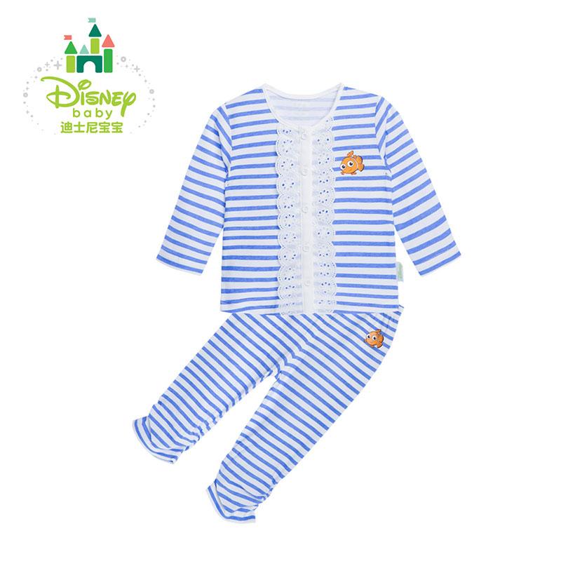 迪士尼Disney宝宝新款纯棉婴儿衣春秋海军风 条纹花边前开套装153T638 条纹花边前开套装