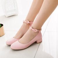 春季韩版大童花朵儿童鞋女童小女孩白色皮鞋高跟公主鞋表演舞蹈鞋