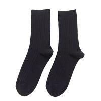 秋冬季日系男士棉袜商务宽抽条质感简约中筒袜子男袜 均码(39-44)