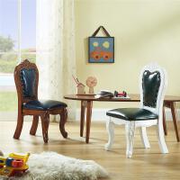 美式凳子实木牛皮小椅子儿童椅欧式换鞋凳茶几凳小餐椅带靠背板凳