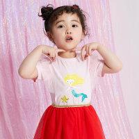 【1件2.5折到手价:28.8】moomoo童装女童短袖t恤新款幼童圆领纯色宝宝儿童装女童夏装