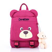 儿童书包帆布环保小朋友小熊卡通大小号双肩背包1-3-6岁幼儿园