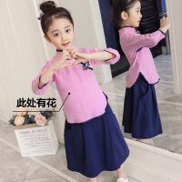 女童唐装女汉服春秋长袖中国风中式印花两件套纯棉旗袍裙女童裙子