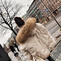 学生外套ins冬季中长款百搭潮韩国2018冬季新款斗篷大毛领仿羽绒服女中长款韩版宽松显瘦加厚外套新