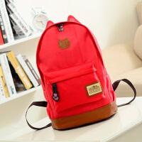 小猫耳朵帆布双肩包男女韩版潮背包学生书包旅行包s6 红色