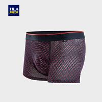 HLA/海澜之家中腰印花橡筋针织平角短裤2018秋季新品男士内裤