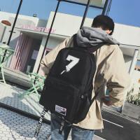 韩版时尚双肩包男潮流帆布高中大学生书包学院风休闲旅行背包 黑色7