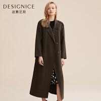 【开学季 到手价:740元】毛呢外套女迪赛尼斯中长款韩版羊毛双面呢大衣女