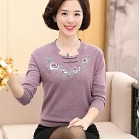中老年毛衣秋款40-50岁时尚新款100%纯羊毛衫妈妈装打底上衣