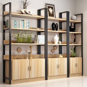 柏易 环保加厚经济型经典钢木书柜 带柜小户型多层书橱组合书架置物架货架展示架