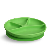 美国green sprouts小绿芽宝宝硅胶分格隔餐盘一体吸盘辅食碗防摔