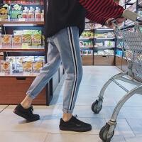 男士牛仔裤春季2018新款青少年条纹韩版潮流学生加厚直筒男裤